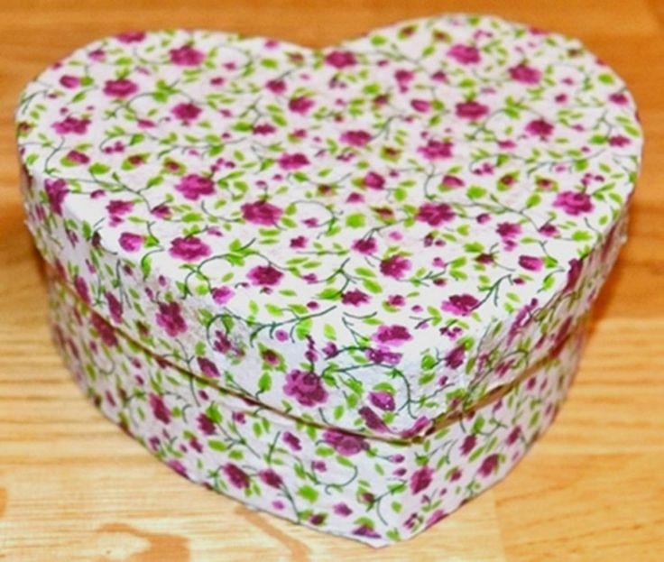 Decoupage pretty heart boxes