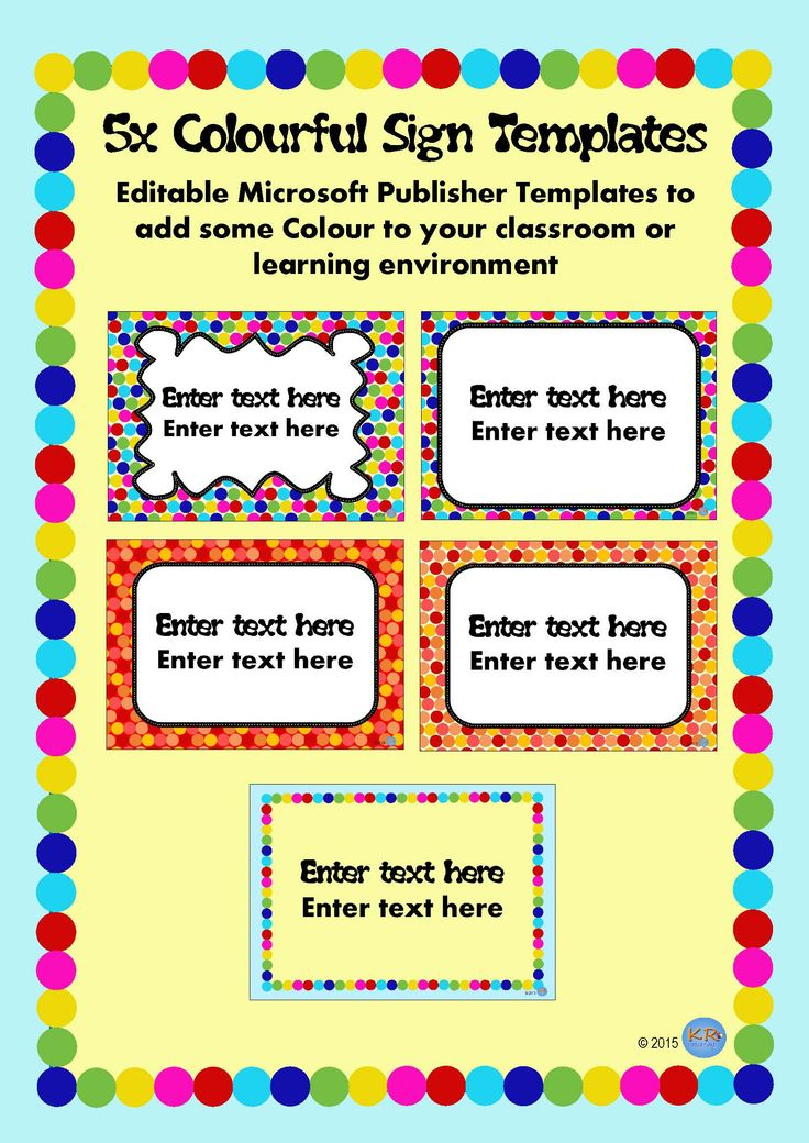 Editable Colourful Templates for making your own classroom signage!