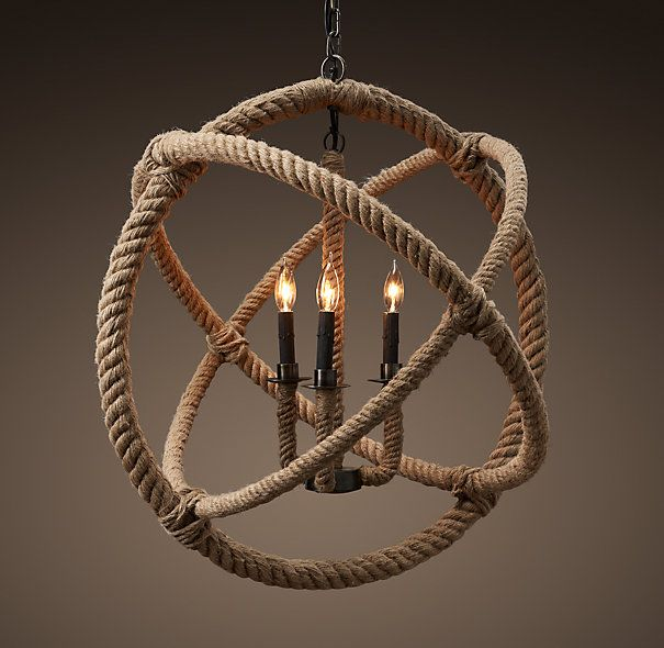 DIY Nautical Rope : DIY Restoration Hardware Rope Planitarium Chandelier Knock  Off