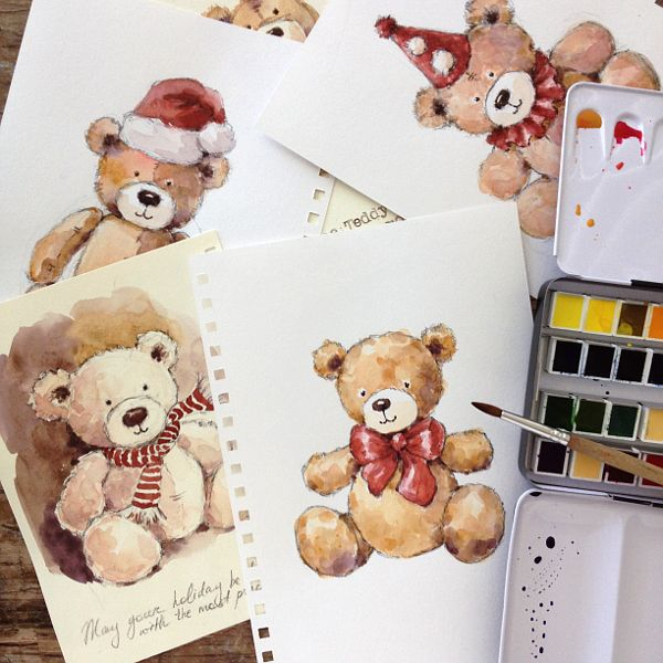 Teddy bears are cute, soft and cuddly and that's why we love them, regardless of our age. Create a whimsical teddy bear painting with these simple instructions!