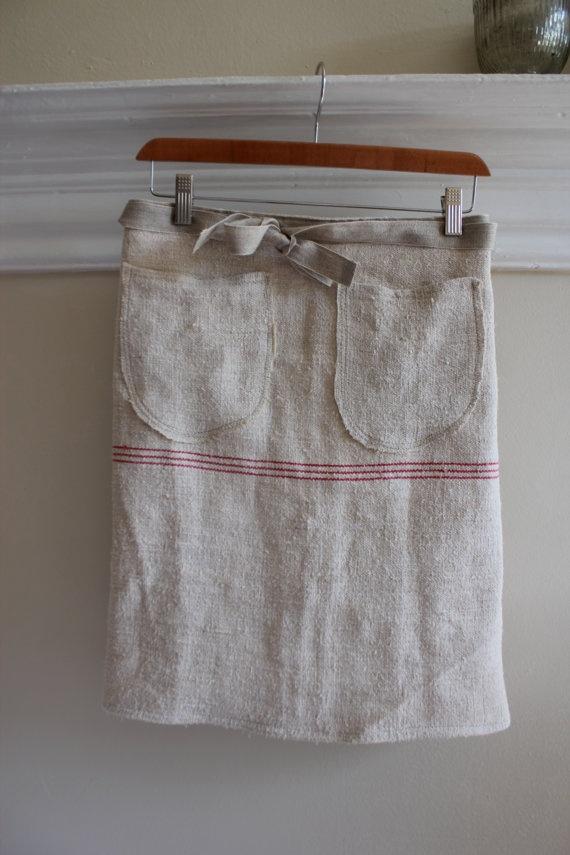 vintage grain sac waiter's apron