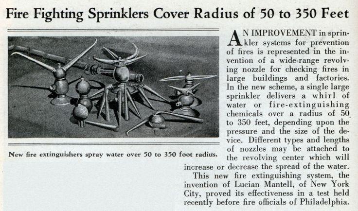 Fire Fighting Sprinklers Cover Radius of 50 to 350 Feet - Modern Mechanix (Jan, 1932)