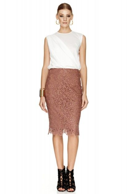 Beige Pink Skirt by PNK casual  #laceskirt #fashion #pnkcasual #cool