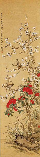 Tsubaki CHINZAN (1801-1854), Japan 椿 椿山 Birds and Flowers after Chang Qiu-gu part 2 by Tsubaki Chinzan camellia flowers