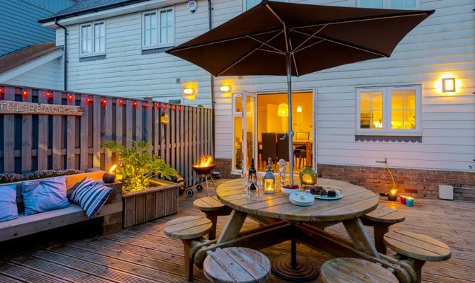 The Rock with its fully decked garden makes for a great place for an evening barbeque!