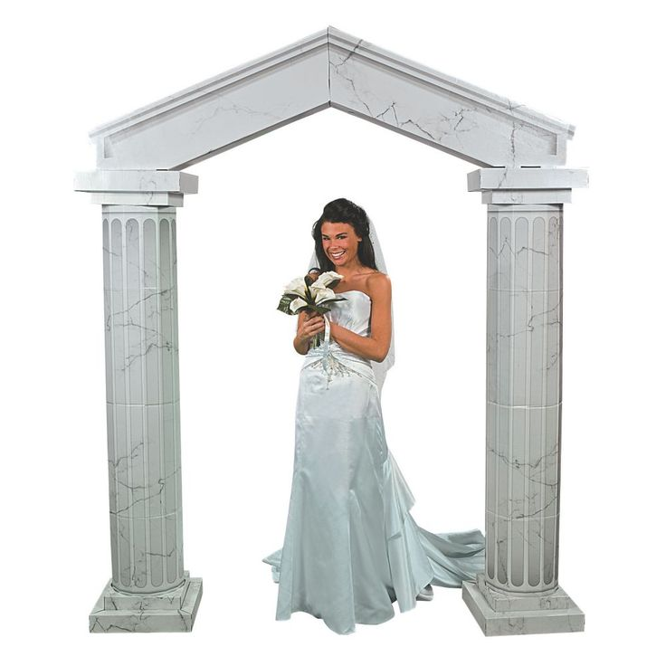 Stylish Wedding Ceremony Decor: Marble-Look Fluted Archway With Columns