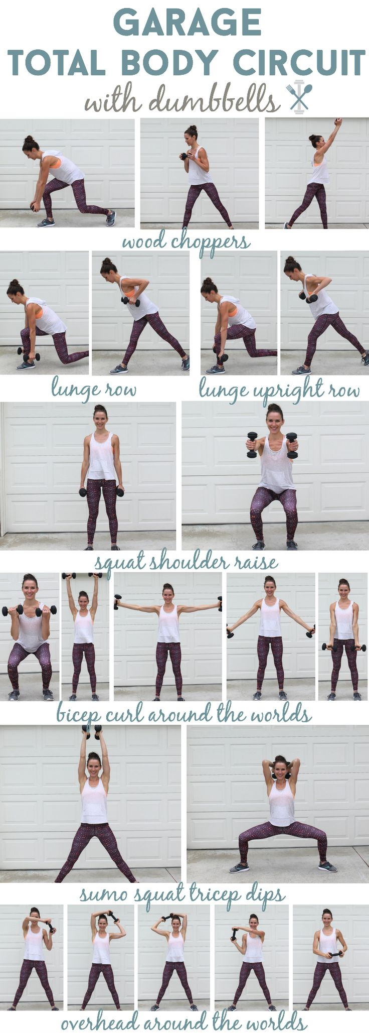 This total body workout with dumbbells is one you can complete at home in your garage, or if you hit the gym! All over toning and sculpting