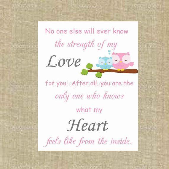 No one else owl print no one else strength by Littlegiftsfrmheaven, $14.00  #owlnurserydecor #strengthofmylove #mothersloveprint #babyroomwallart #babyshowergift #mothersday