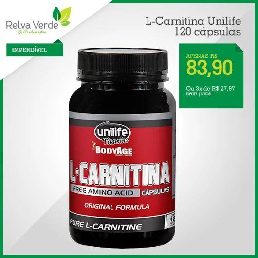 A L-carnitina auxilia o corpo a transformar gordura em energia, contribuindo assim para uma melhor performance em treinos e auxiliando em dietas de redução de peso.   Compre agora>> http://www.lojarelvaverde.com.br/l-carnitina-unilife-120-capsulas-p1626