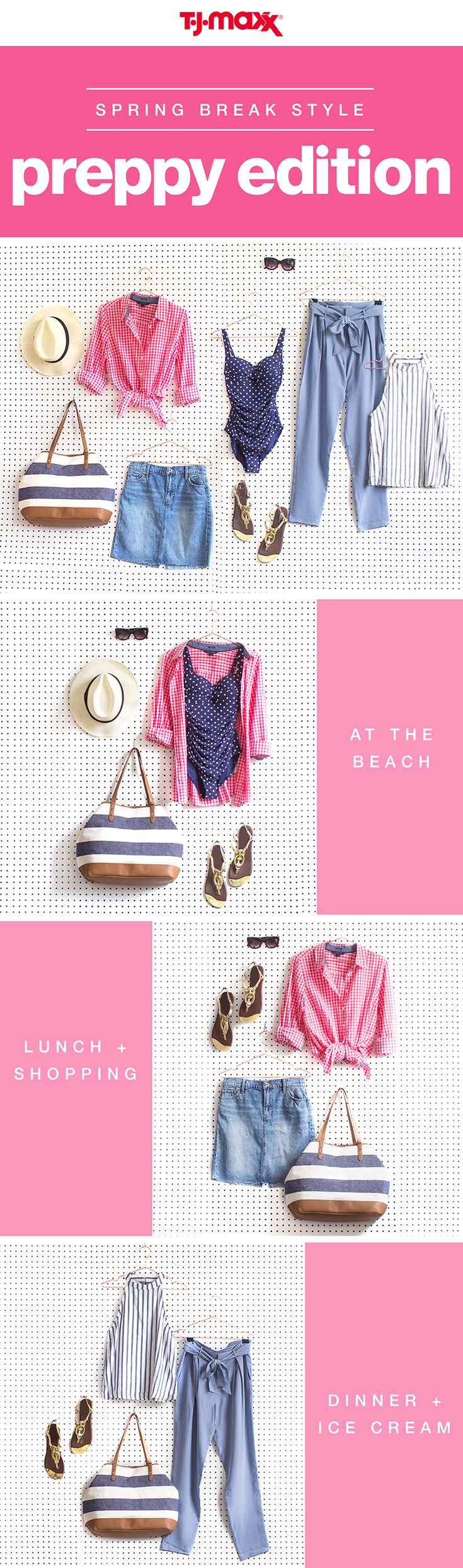 Packing for a lake or beach vacation? Blue and white nautical stripes are a must. Create a capsule wardrobe with interchangeable tops and bottoms that can be dressed down for days by the water, and dressed up for evenings out. Find more getaway essentials at your local T.J.Maxx and tjmaxx.com.