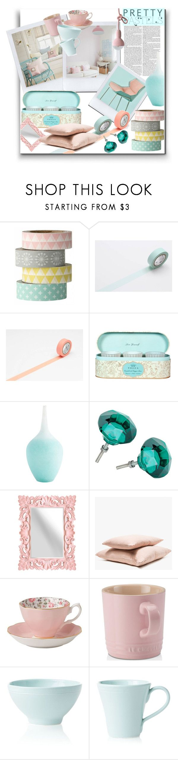 """""""Pastel decor"""" by marionmeyer ❤ liked on Polyvore featuring interior, interiors, interior design, home, home decor, interior decorating, Bloomingville, Hawkins, Royal Albert and Le Creuset"""