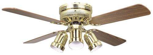 Palilly 42 Inch 4 Blade Polished Brass Ceiling Fan with Light Kit - 42HUG4BB-YG6