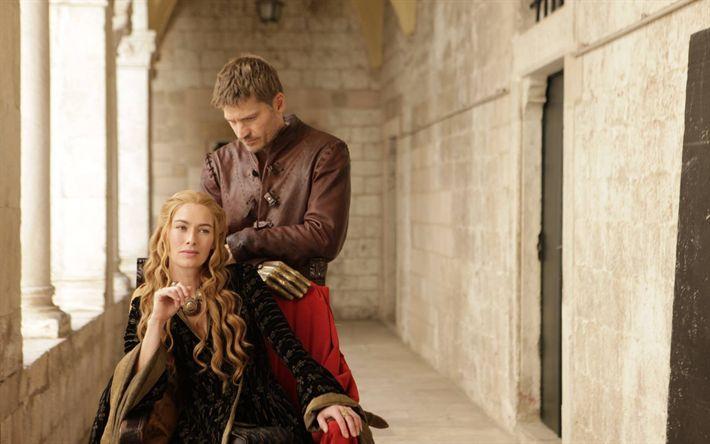 Descargar fondos de pantalla Juego de Tronos, 2017, lena headey, nikolaj coster-waldau, la reina, Jaime Lannister