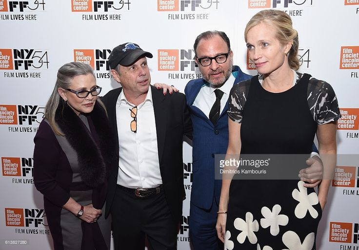 Carrie Fisher, Todd Fisher, Fisher Stevens, and director Alexis Bloom attend the 54th New York Film Festival - 'Bright Lights' Photo Cal on October 10, 2016 in New York City.