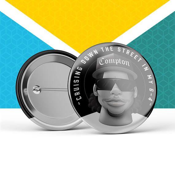 Easy-E 38mm Button Badge: Eazy-E , NWA, Compton, straight outta compton, gangsta rap, hip hop, west coast, westside, rapper, OG, Gangster