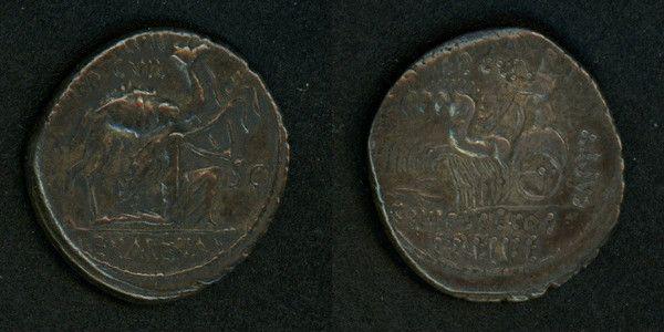 Rare Roman Republic Silver Denarius M. Aemilius Scaurus and Pub. Plautius Hypsaeus Rome Mint 58 BC VF  For your Roman Coin Collection