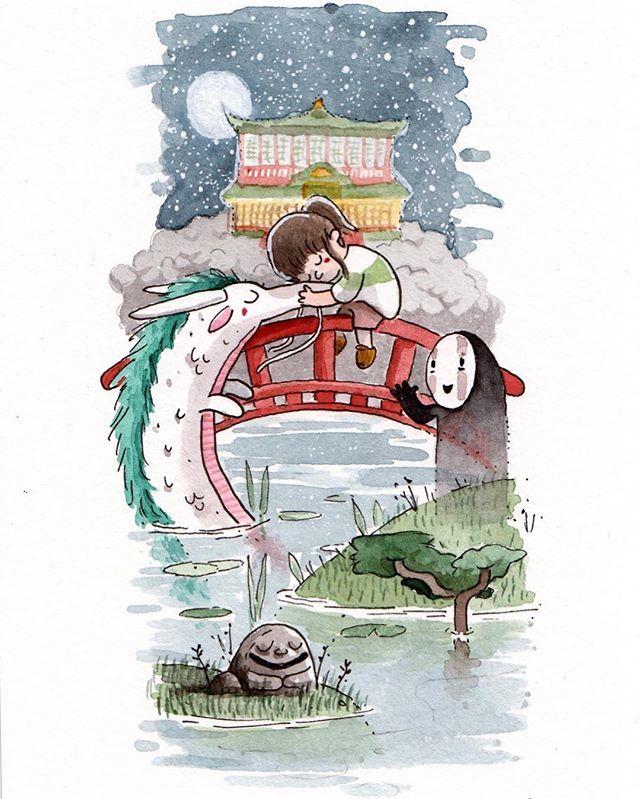 I Love Studio Ghibli Films I Painted This One Fairly Recently Whilst Watching Spirited Away Mononoke Is Watercolor Illustration Ghibli Art Studio Ghibli Art