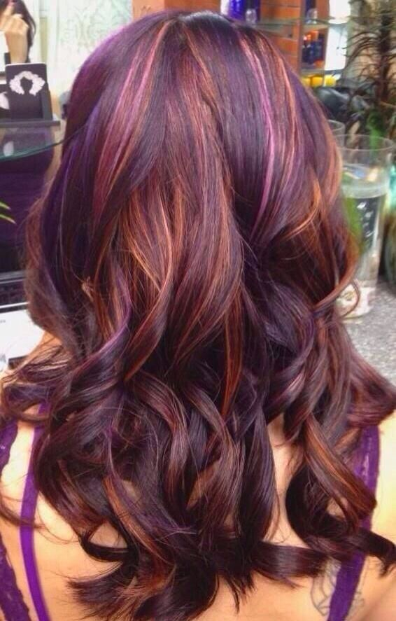 copper brown and purple hair pinterest blond purple and hi lights. Black Bedroom Furniture Sets. Home Design Ideas