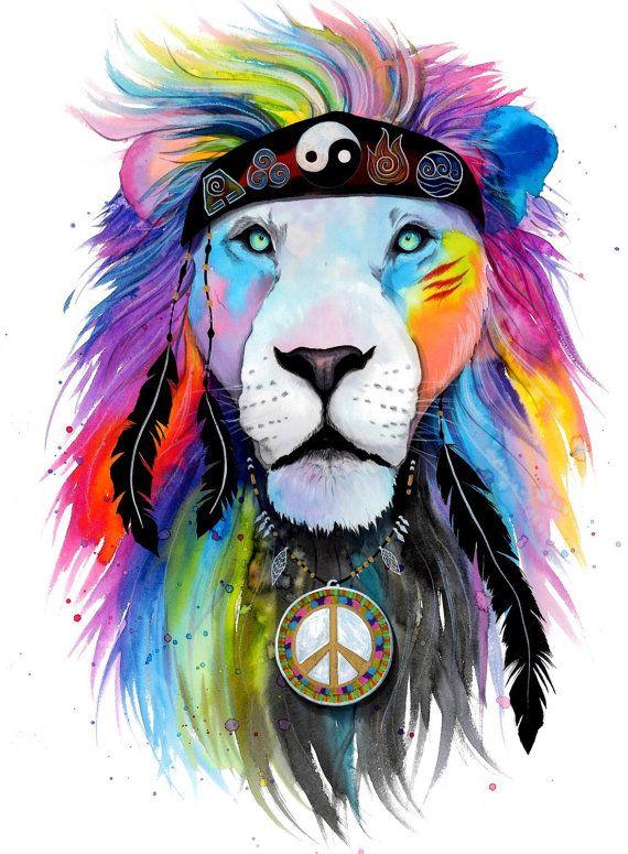 Hippie Lion  original by PixieColdArt on Etsy