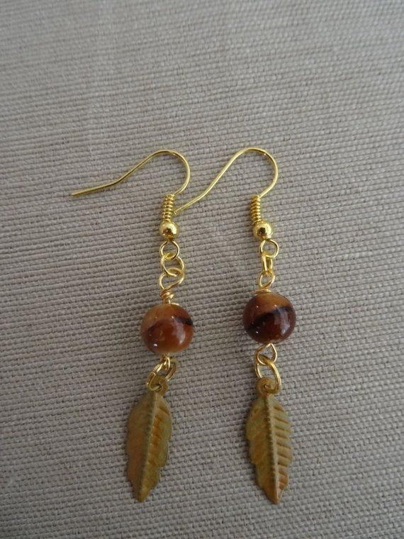 Earrings of Gold, Wood, and Brown and Orange Feather Item #003 $12.00 USD