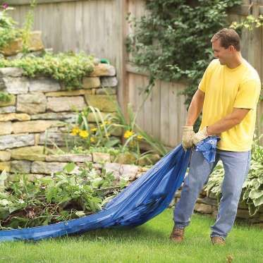 With a big, cheap plastic tarp you can drag leaves, branches or mulch around your yard.Plus: 11 Exce... - Provided by The Family Handyman
