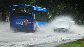 Flooded roads in Chilwell, near Nottingham
