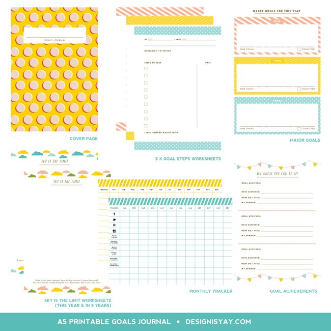 Printable Goals Journal (with freebie!)   DESIGN IS YAY!
