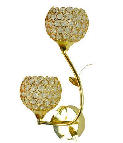 modern brief crystal wall lamp double-head golden E14 LED decorative wall light iluminacion interior bedside wall light N1086-D