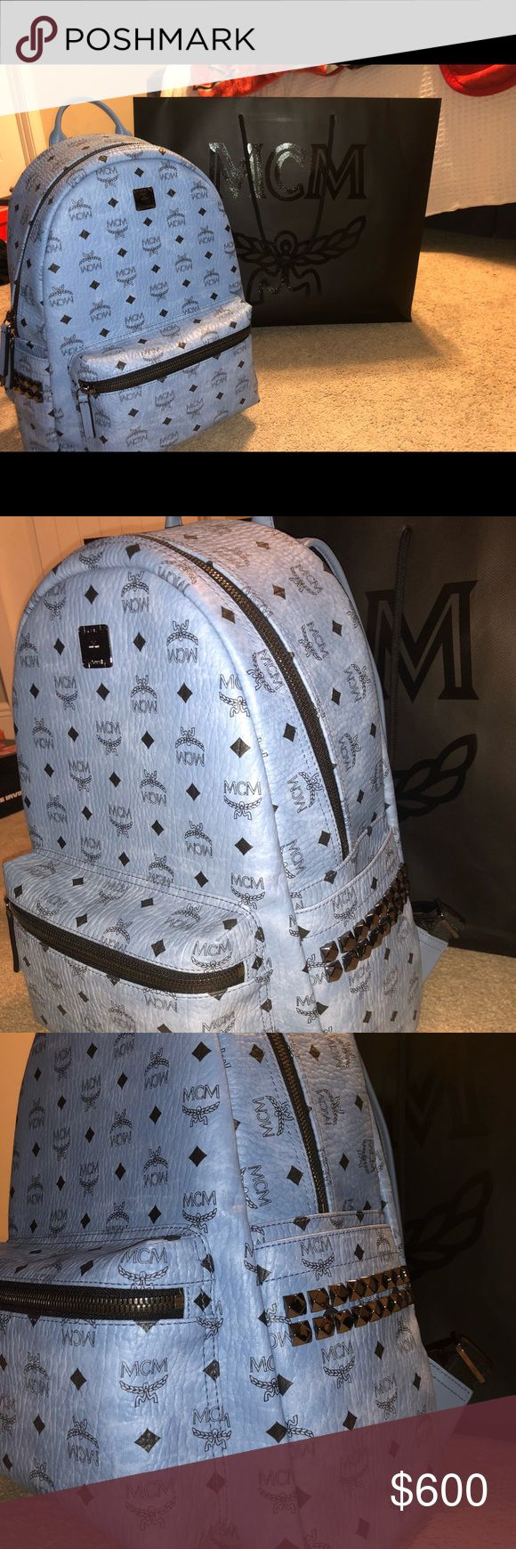 Brand New MCM Light Blue Backpack Light blue leather MCM backpack, brand new with all packaging. Price is negotiable so make offers. MCM Bags Backpacks
