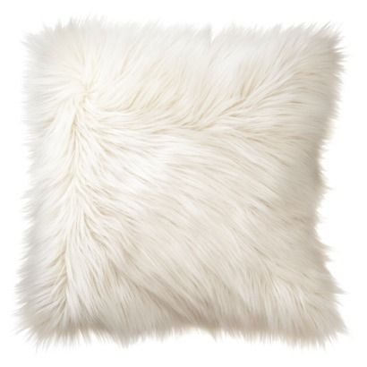 White Shag Pillow Faux Fur Cushion White Mongolian