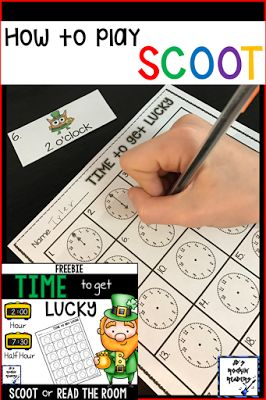 """JD's Rockin' Readers: How to play SCOOT! Let your students practice telling time to the nearest hour and half hour with this FREE download! It's great to use during the month of March for St. Patrick's Day, but you can use it any time you want a little """"luck"""" to come to your 1st or 2nd grade classroom and homeschool students. Click through now to grab your freebie! {first, second graders - Saint Patrick's Day}"""