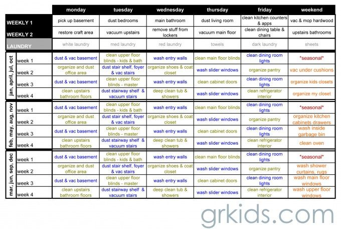 realistic cleaning schedule from grkids.com