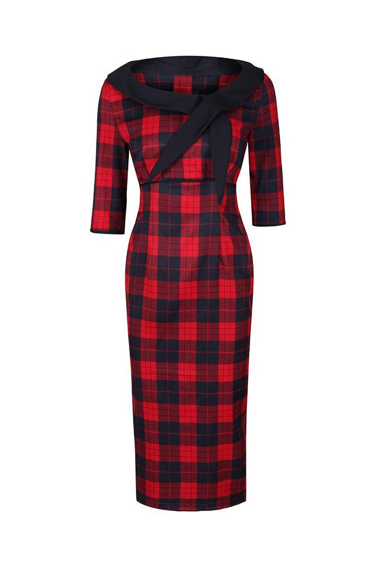 Red and Black Check 3/4 Sleeve Bow Neck 40s Wiggle Dress