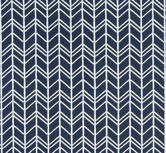 Rustic Herringbone Fabric by the Yard Designer Indigo Blue Fabric Drapery Fabric Curtain Fabric Cotton Upholstery Fabric Navy Fabric