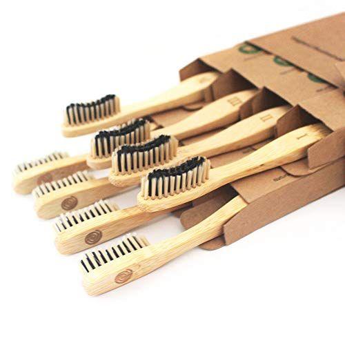 Bamboo Toothbrush Charcoal Infused Bristles – BPA Free Medium Bristle, Organic Vegan tooth brush, Biodegradable Reusable Bamboo Toothbrushes | Eco-Friendly Natural Teeth Whitening| Adults set of 8