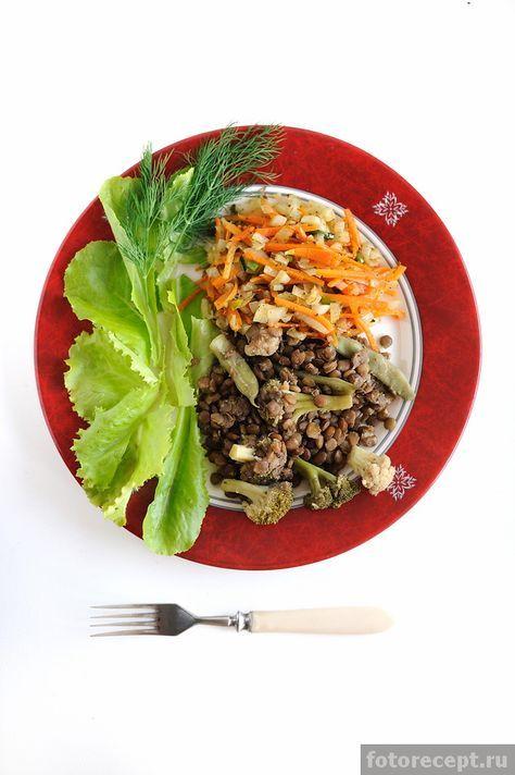 Зелёная чечевица с овощами | Простые рецепты