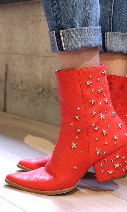 red leather star studded booties