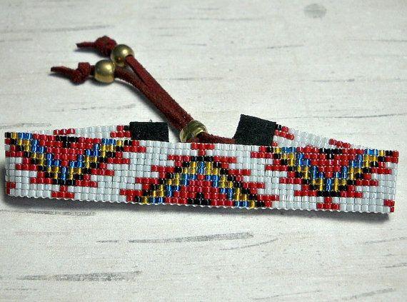Tribal Loom Bracelet Tribal Design Bracelet by BeadWorkBySmileyKit