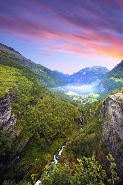 Pink Clouds over Geirangerfjord, Norway