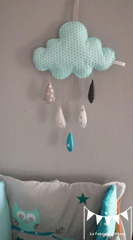mobile nuage turquoise lagon gris étoiles gouttes de pluie - décoration chambre bébé garçon turquoise gris