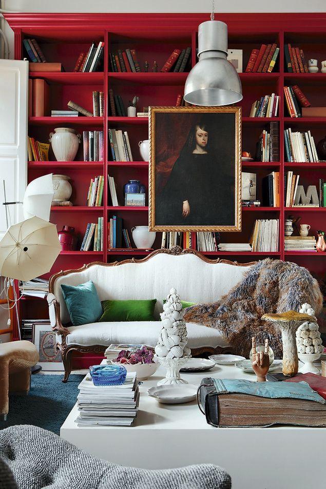 original red library ~ María Lladó design