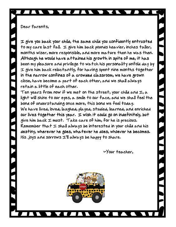 teacher to parents letter