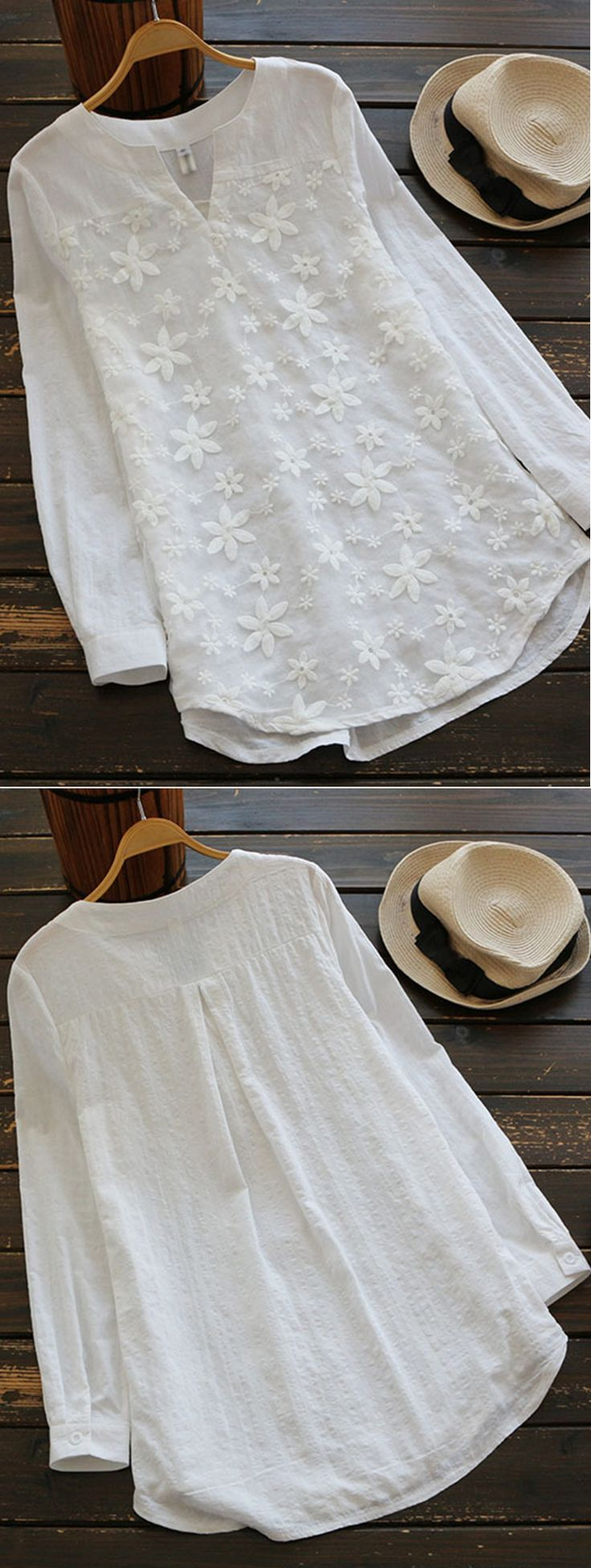 UP TO 49% OFF! Women Embroidered V-neck Long Sleeve Shirts. SHOP NOW!