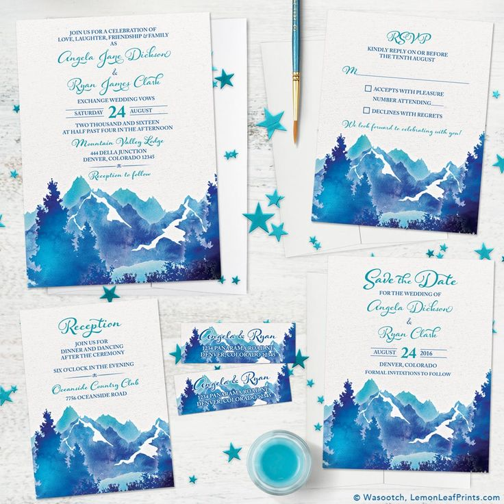navy blue and kelly green wedding invitations%0A Beautiful watercolor mountain scene wedding invitation set  Colors are  turquoise  royal blue  navy