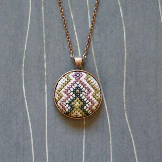 Friendship Cross stitch pendant necklace by TheWerkShoppe on Etsy, $34.00