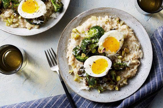 Broccoli Risotto & Soft-Boiled Eggs with Pistachios & Grana Padano Cheese. Visit https://www.blueapron.com/ to receive the ingredients.