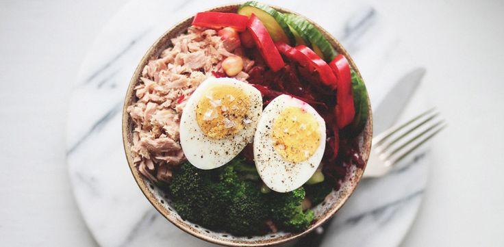 Proteinrik lunchsallad med tonfisk, ägg och rödbeta