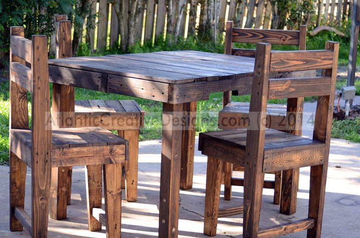 A custom build that included reclaimed table legs (salvaged off an old wood futon), pallet seats and table box, and a beautiful mahogany finish for the table, chairs and counter-height bar stools.