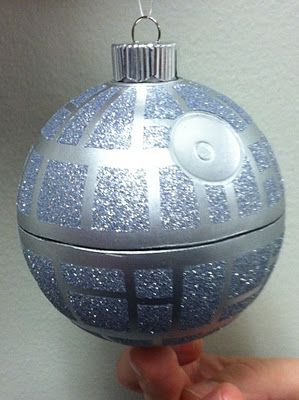 Death Star Ornament – Maybe put glitter on inside and then trace outside with silver sharpie (that way you don't have to cut it in half)