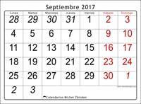 Calendario septiembre 2017, Oseus